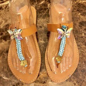 Shoes - Greek Handmade Embellished Leather Sandals-NEW